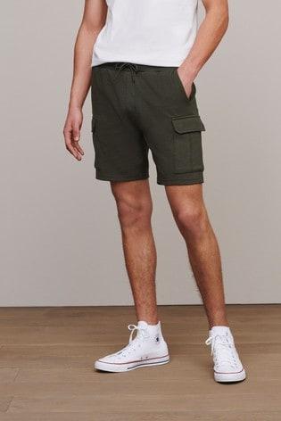 Khaki Slim Cotton Rich Jersey Cargo Shorts With Utility Pockets