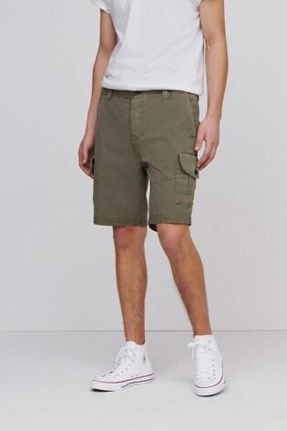 Khaki Regular Length Premium Laundered Cargo Shorts