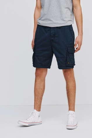 Navy Premium 100% Cotton Laundered Stitch Detail Utility Cargo Shorts