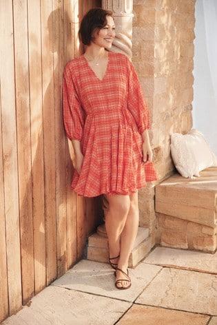 Orange Check Emma Willis Godet Dress