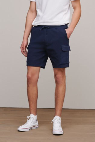 Navy Slim Cotton Rich Jersey Cargo Shorts With Utility Pockets