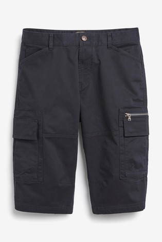 Navy Laundered Cotton Long Cargo Shorts With Stretch