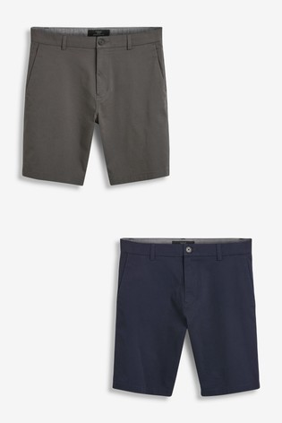 Navy/Charcoal 2 Pack Straight Fit Stretch Chino Shorts