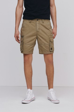 Stone Premium 100% Cotton Laundered Stitch Detail Utility Cargo Shorts