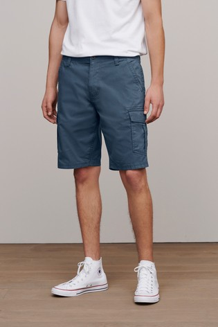 Blue Straight Fit Cotton Cargo Shorts