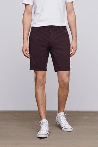 Burgundy Slim Fit Stretch Chino Shorts
