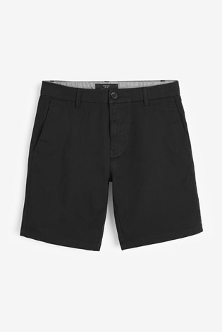 Black Straight Fit Stretch Chino Shorts