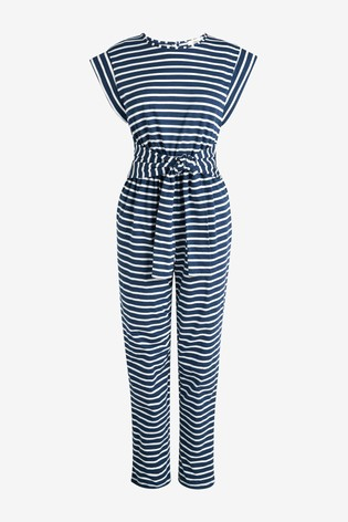Navy Stripe Tie Front Jumpsuit