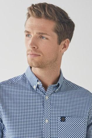 Navy/White Regular Fit Slim Fit Short Sleeve Gingham Stretch Oxford Shirt