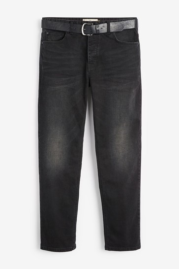 Black Straight Fit Belted Jeans