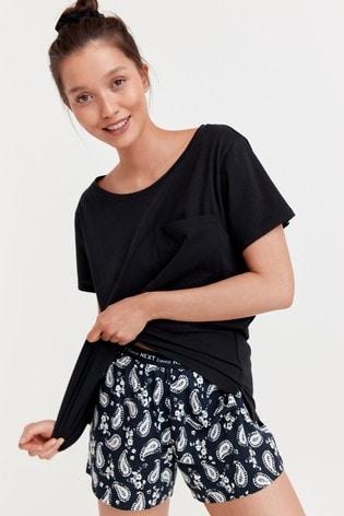 Navy Paisley Cotton Pyjamas