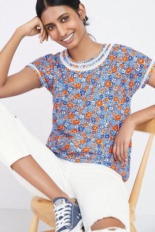 Blue Ditsy Print Bubble Hem T-Shirt