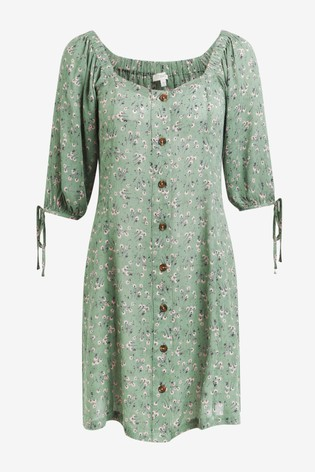 Khaki Ditsy Tie Sleeve Button Front Dress