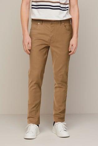 Tan Slim Fit Motion Flex Soft Touch Trousers