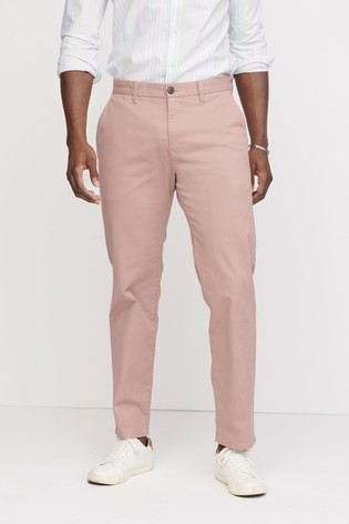 Pink Straight Fit Stretch Chinos