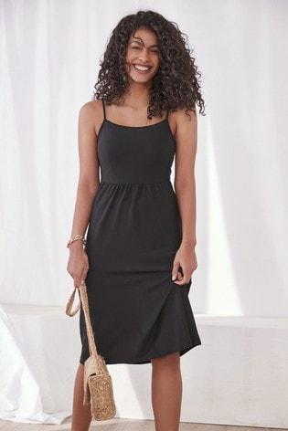 Black Square Neck Jersey Dress