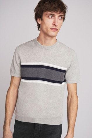 Grey Premium Stripe T-Shirt