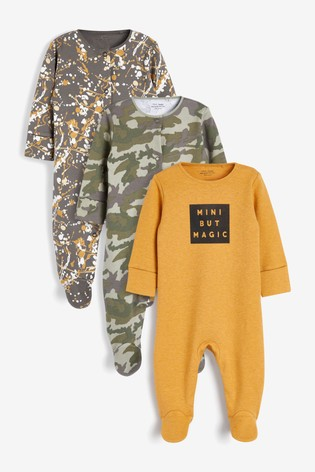 Ochre 3 Pack Slogan Sleepsuits (0-2yrs)