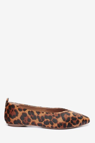 Leopard Print Signature Forever Comfort® Leather Ballerina Shoes