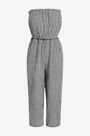 Monochrome Check Jumpsuit