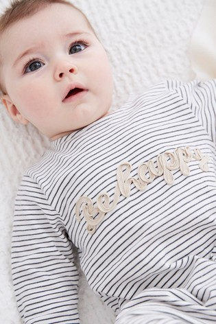 Monochrome Cotton Stripe Slogan Romper (0mths-2yrs)