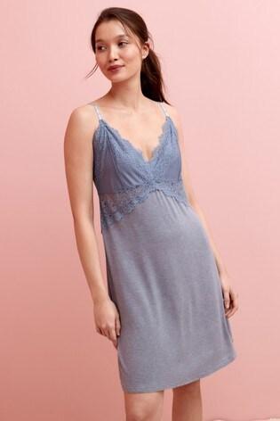 Blue Woven Lace Slip