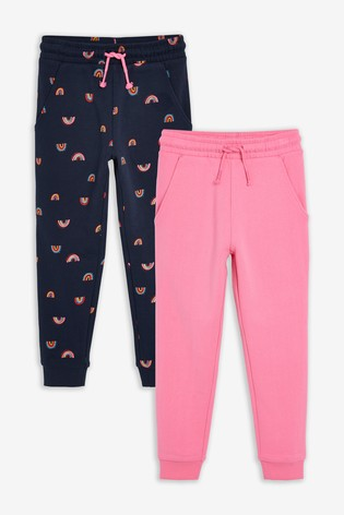 Navy Rainbow & Pink 2 Pack Joggers (3-16yrs)