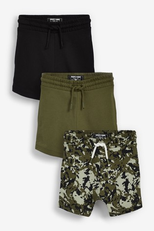 Camouflage/Green/Black 3 Pack Jersey Shorts (3mths-7yrs)