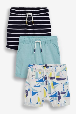 Boat/Stripe 3 Pack Lightweight Jersey Shorts (3mths-7yrs)