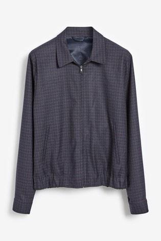 Navy Slim Fit Blouson Suit: Jacket