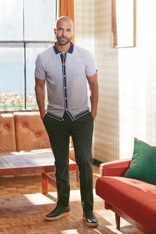 Grey Button Through Polo Shirt