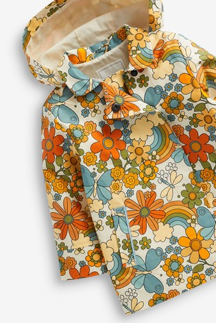 Yellow Shower Resistant Floral Print Jacket (3mths-7yrs)