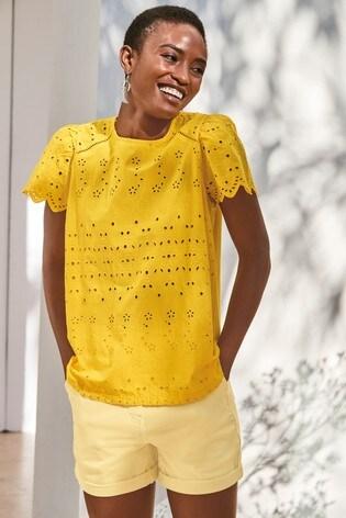 Yellow Broderie T-Shirt