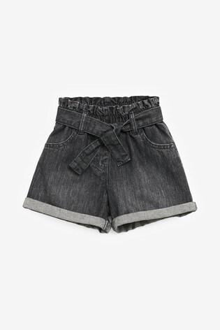 Denim Grey Paperbag Short With Tie Belt (3mths-7yrs)