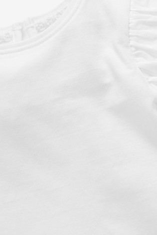 White Cotton Puff Sleeve T-Shirt (3mths-7yrs)