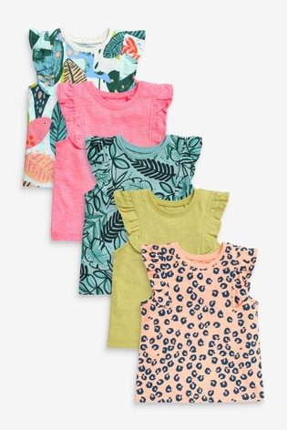 Tropical Print 5 Pack Vests (3mths-7yrs)