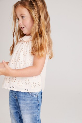 Pink Broderie Collar Blouse (3mths-7yrs)