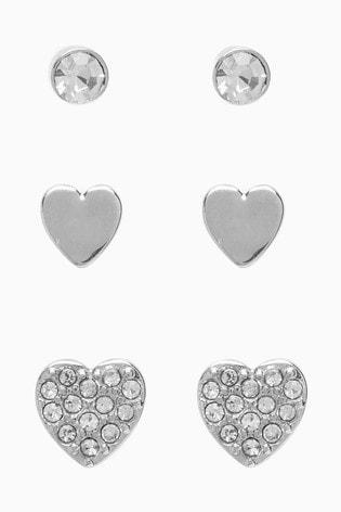 Silver Tone Heart Stud Earrings Three Pack