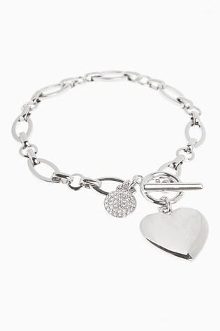Silver Tone Pavé Disc Heart Charm Bracelet