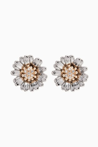 Gold Tone/Silver Tone Daisy Stud Earrings