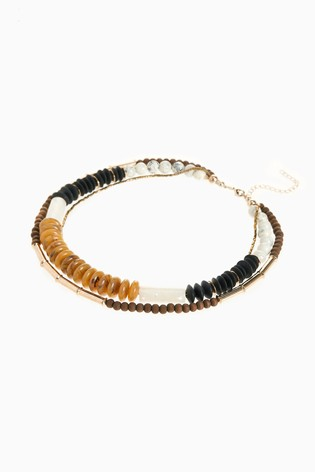 Ochre Wooden Beaded Multi-Layer Necklace