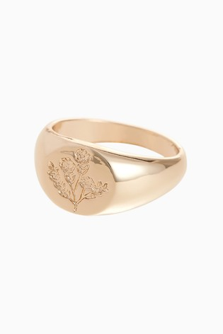 Gold Tone Floral Etched Signet Ring