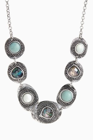 Silver Tone/Turquoise Burnished Collar Necklace