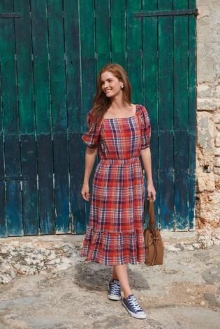 Red Check Square Neck Midi Dress