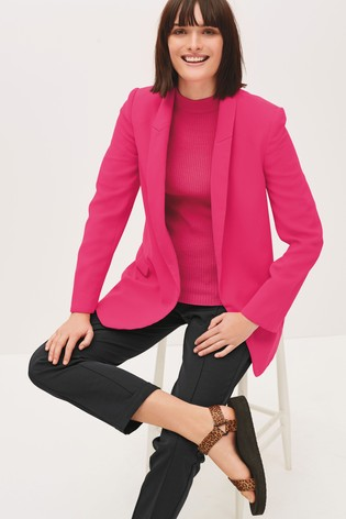 Pink Relaxed Soft Crepe Blazer