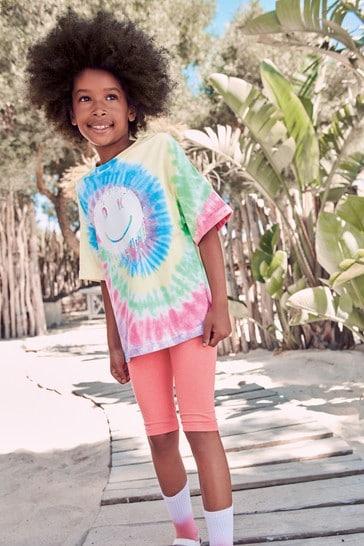 Multi Tie Dye Smiley Face Oversize T-Shirt (3-16yrs)