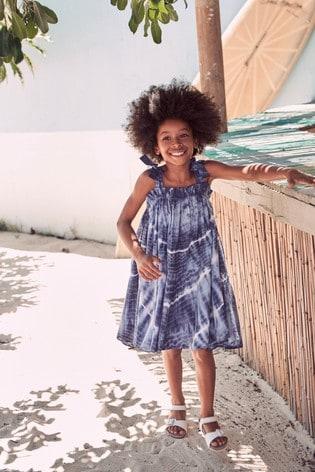 Blue Tie Dye Cotton Tie Shoulder Dress (3-16yrs)