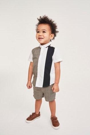 Heritage Check Colourblock Shirt & Short Set Cotton Short Sleeve (3mths-7yrs)