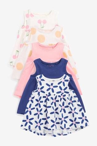 Blue Floral 5 Pack Vests (3mths-7yrs)
