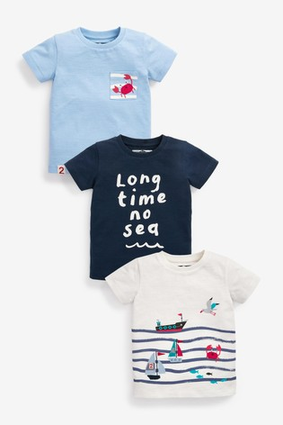 Blue Seaside 3 Pack T-Shirts (3mths-7yrs)